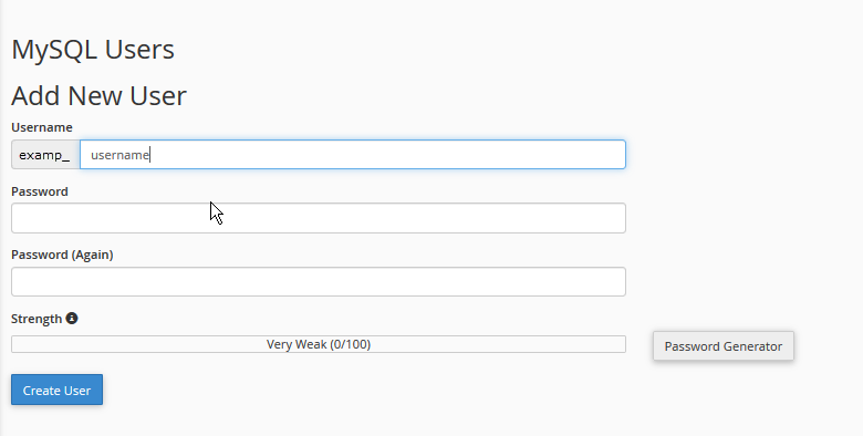 Create a user for your database file.